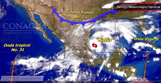 Tormenta tropical Katia afecta a estados mexicanos