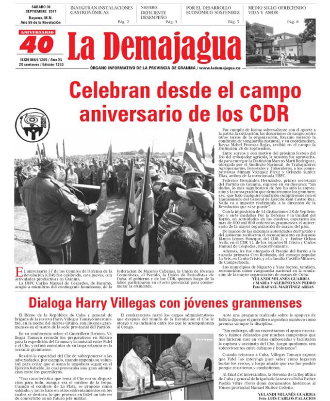 Edición impresa 1353 del semanario La Demajagua, sábado 30 de septiembre de 2017