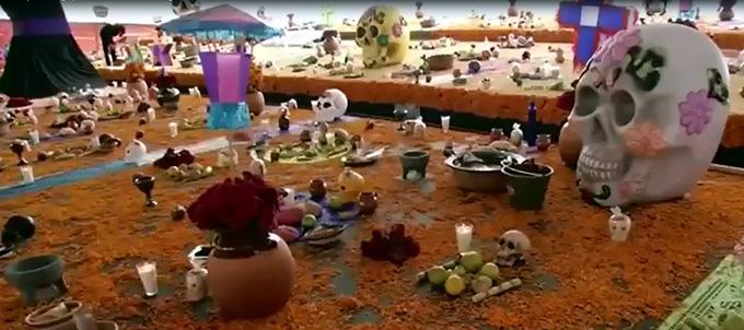 Megaofrenda por Día de Muertos en Pachuca, México (+video)