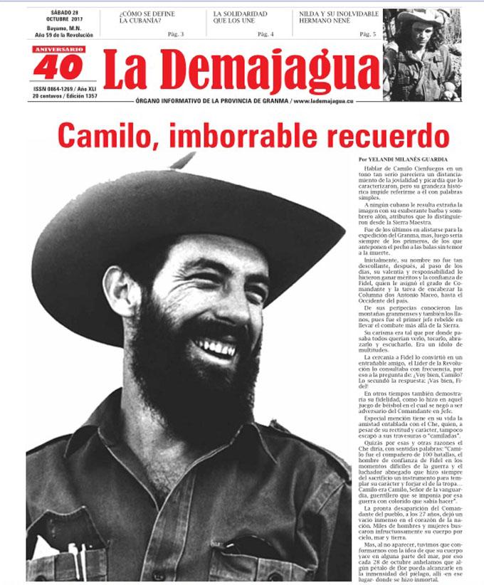 Edición impresa 1357 del semanario La Demajagua, sábado 28 de octubre de 2017