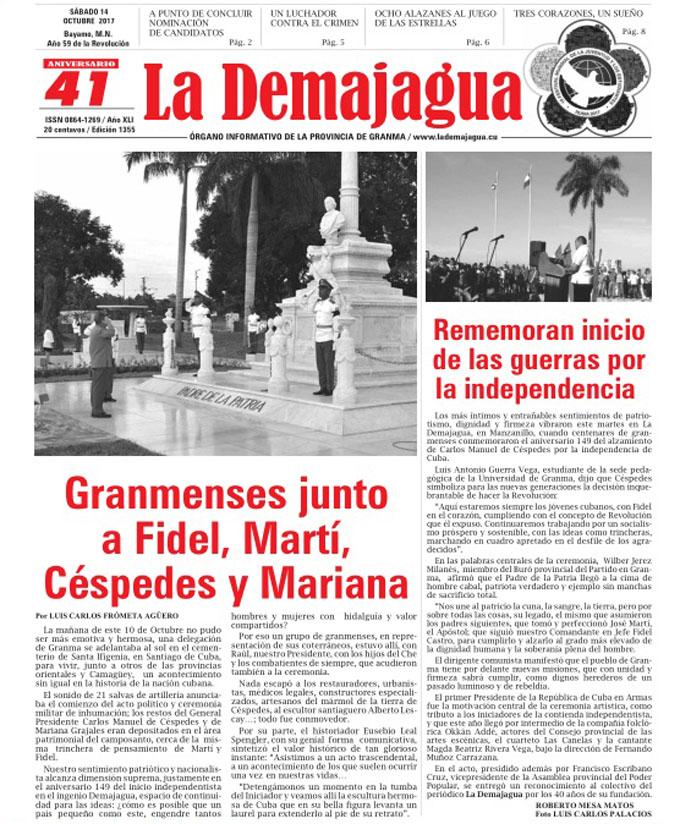 Edición impresa 1355 del semanario La Demajagua, sábado 14 de octubre de 2017