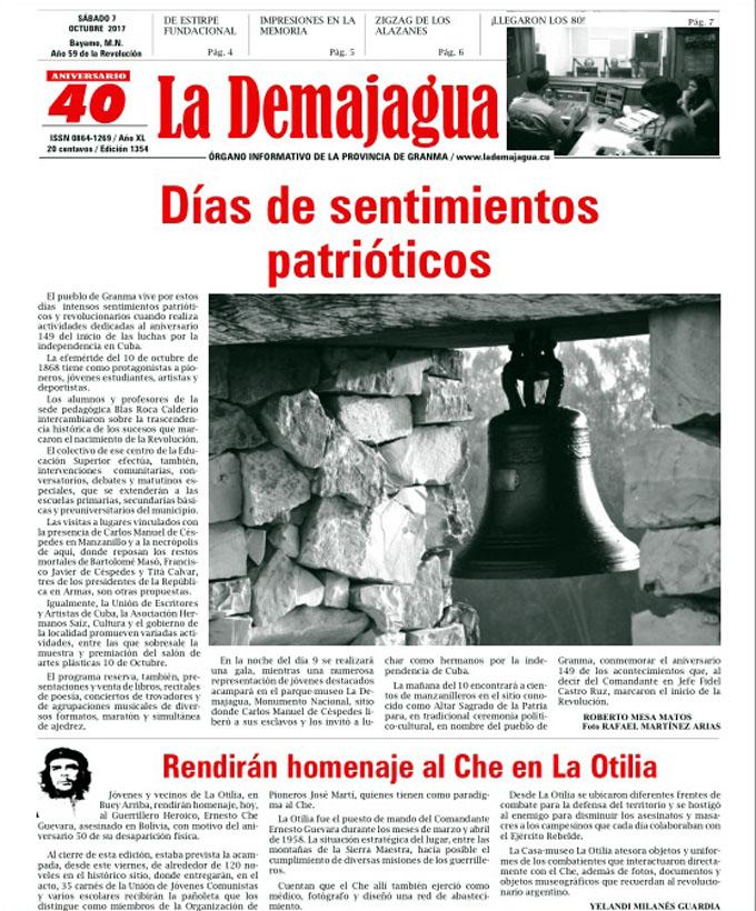 Edición impresa 1354 del semanario La Demajagua, sábado 7 de octubre de 2017