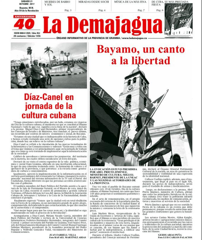 Edición impresa 1356 del semanario La Demajagua, sábado 21 de octubre de 2017,