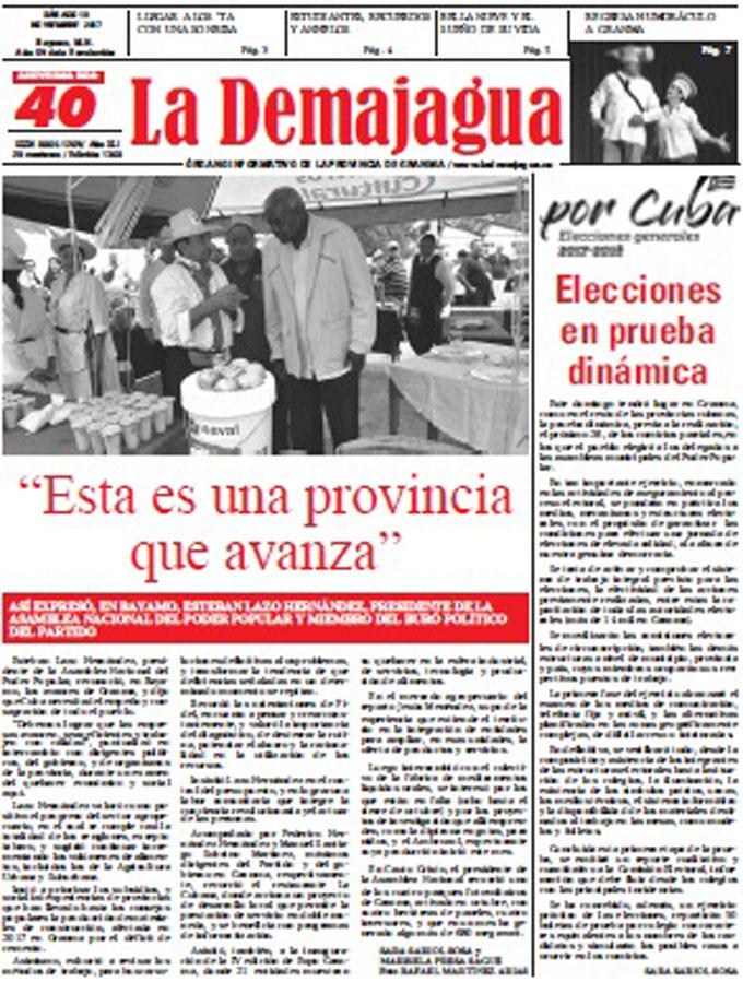 Edición impresa 1360 del semanario La Demajagua, sábado 18 de noviembre de 2017
