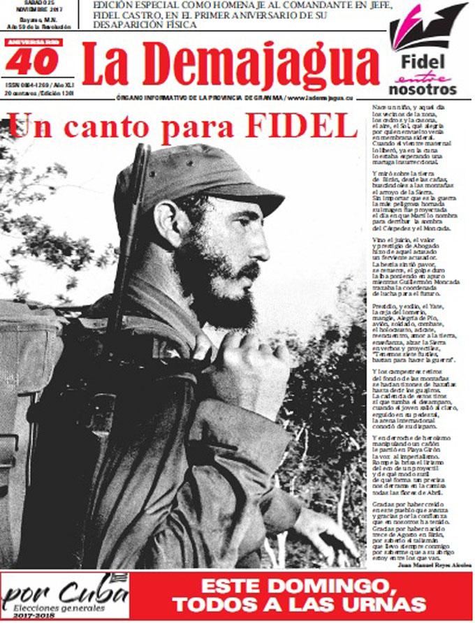 Edición especial impresa 1361 del semanario La Demajagua, sábado 25 de noviembre de 2017