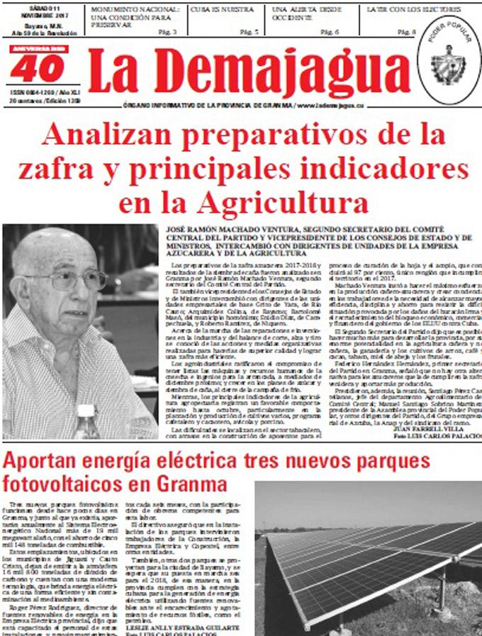 Edición impresa 1359 del semanario La Demajagua, sábado 11 de noviembre de 2017