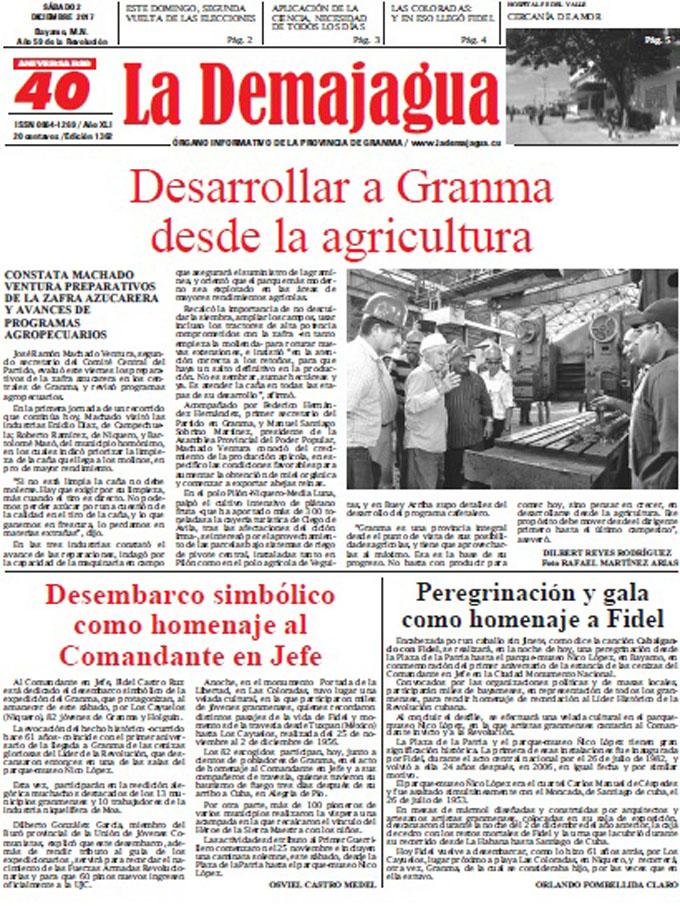 Edición impresa 1362 del semanario La Demajagua, sábado 2 de diciembre de 2017