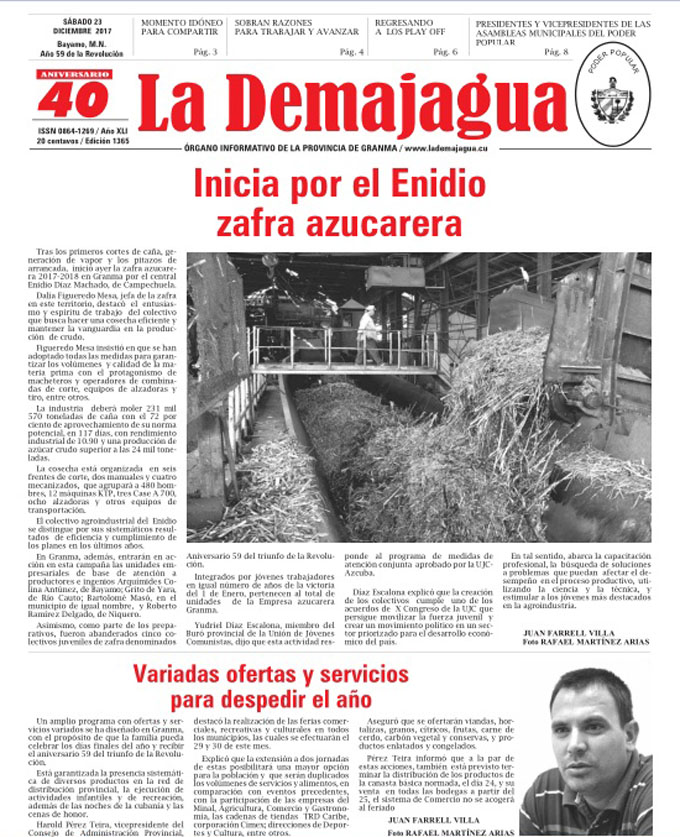 Edición impresa 1365 del semanario La Demajagua, sábado 23 de diciembre de 2017