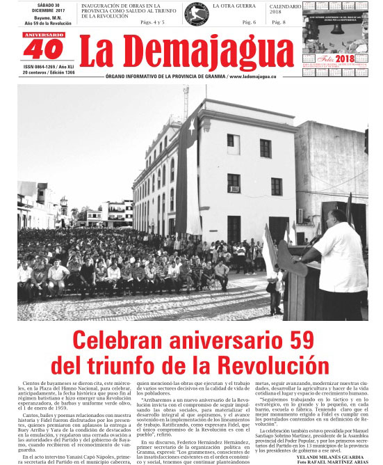 Edición impresa 1366 del semanario La Demajagua, sábado 30 de diciembre de 2017