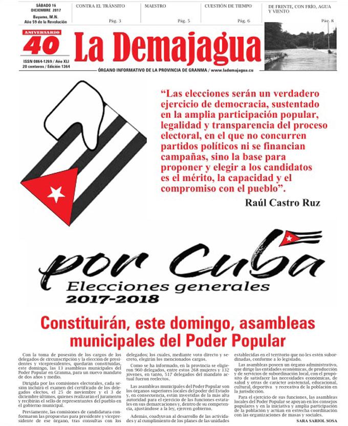Edición impresa 1364 del semanario La Demajagua, sábado 16 de diciembre de 2017