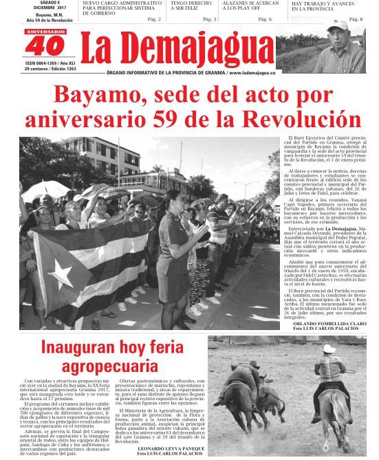 Edición impresa 1363 del semanario La Demajagua, sábado 9 de diciembre de 2017