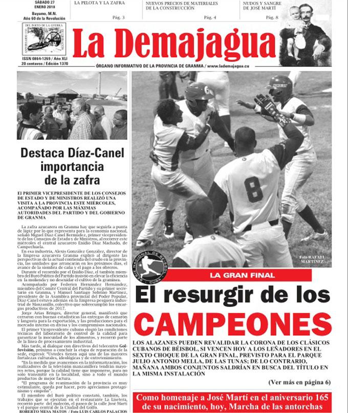 Edición impresa 1370 del semanario La Demajagua, sábado 27 enero de 2018