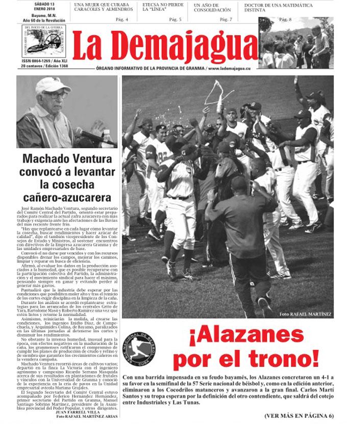 Edición impresa 1368 del semanario La Demajagua, sábado 13 enero de 2018