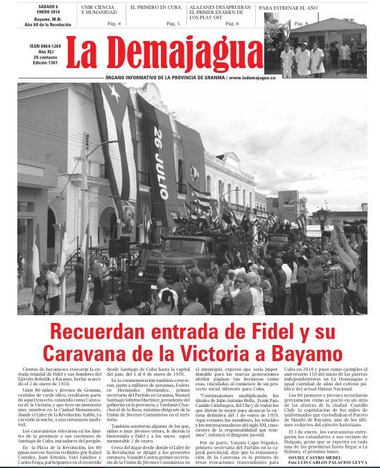 Edición impresa 1367 del semanario La Demajagua, sábado 6 enero de 2018,