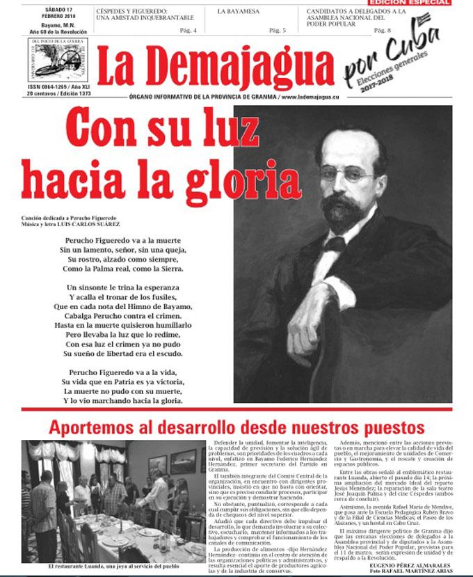 Edición Especial impresa 1373, del semanario La Demajagua, sábado 17 febrero de 2018