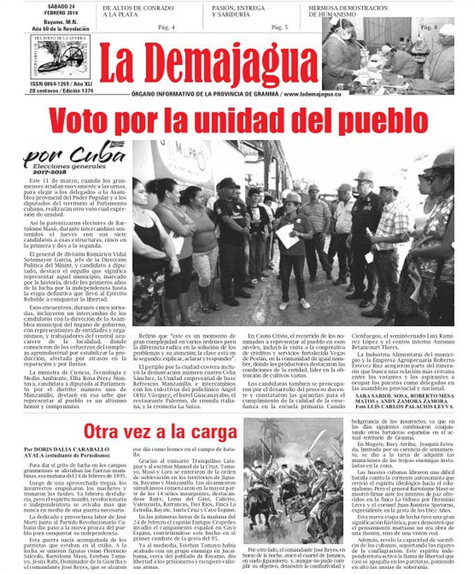 Edición impresa 1374 del semanario La Demajagua, sábado 24 de febrero de 2018