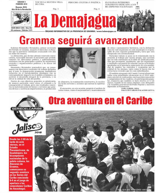 Edición impresa 1371 del semanario La Demajagua, sábado 3 de febrero de 2018