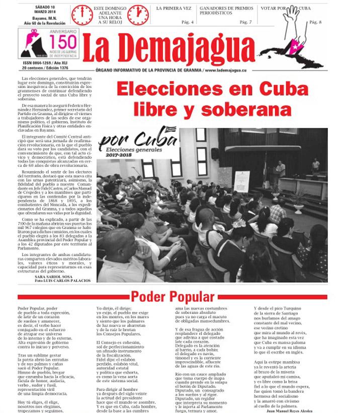 Edición impresa 1376, del semanario La Demajagua, sábado 10 marzo de 2018