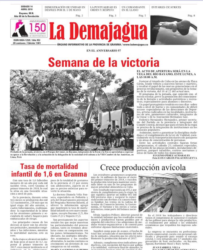 Edición impresa 1381 del semanario La Demajagua, sábado  14 de abril de  2018
