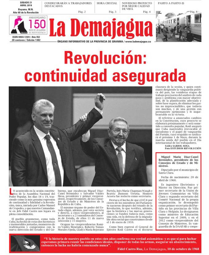 Edición impresa 1382, del semanario La Demajagua, sábado 21 de abril de 2018