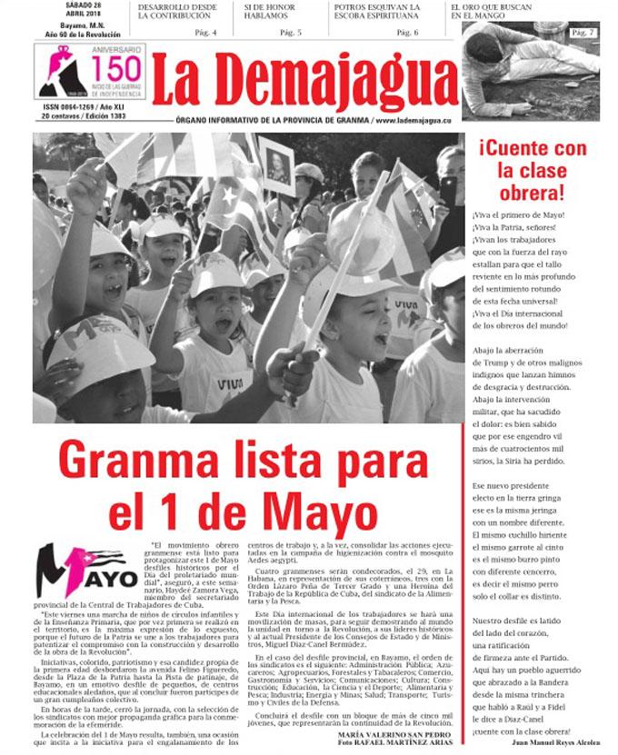 Edición impresa 1383, del semanario La Demajagua, sábado 28 de abril de 2018