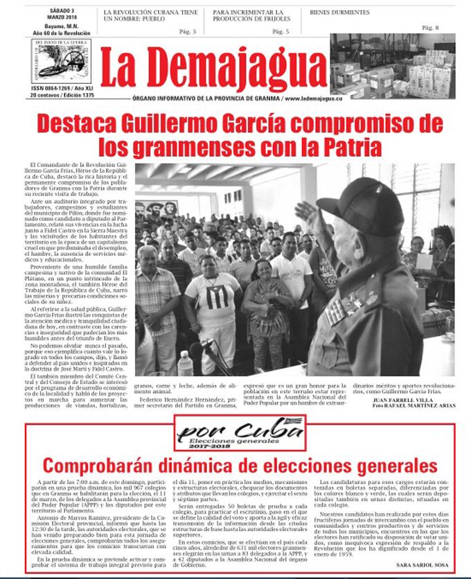 Edición impresa 1375 del semanario La Demajagua, sábado 3  de marzo del 2018