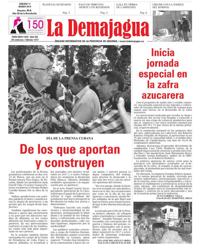 Edición impresa 1377 del semanario La Demajagua, sábado 17  de marzo del 2018