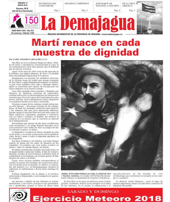 Edición impresa 1386 del semanario La Demajagua, sábado 19 mayo  de 2018