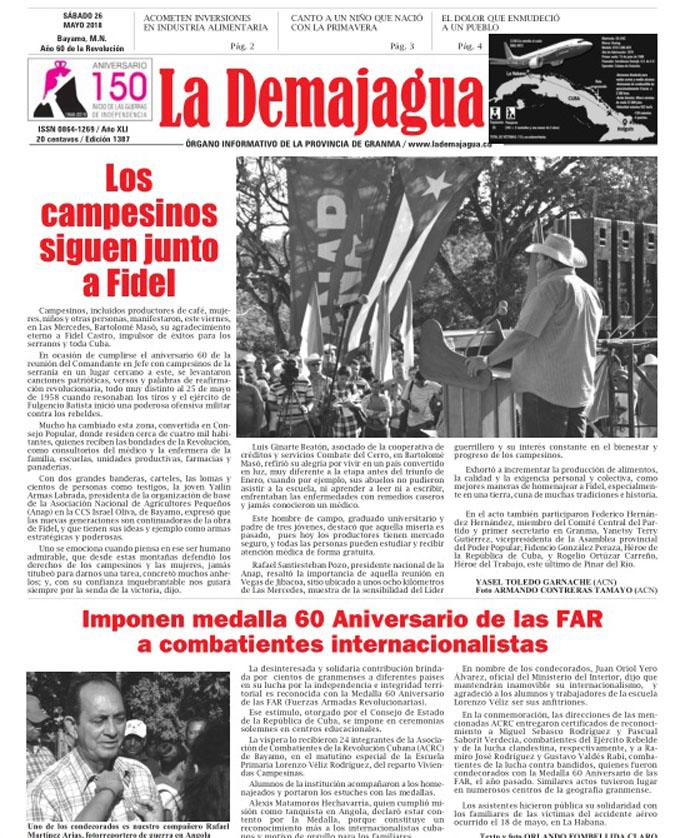 Edición impresa 1387 del semanario La Demajagua, sábado 26 de mayo  de 2018