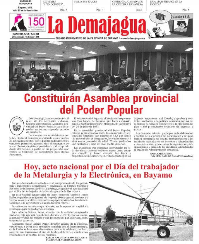 Edición impresa 1378 del semanario La Demajagua, sábado 24  de marzo del 2018