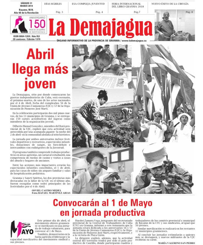 Edición impresa 1379 del semanario La Demajagua, sábado 31  de marzo del 2018, tiene