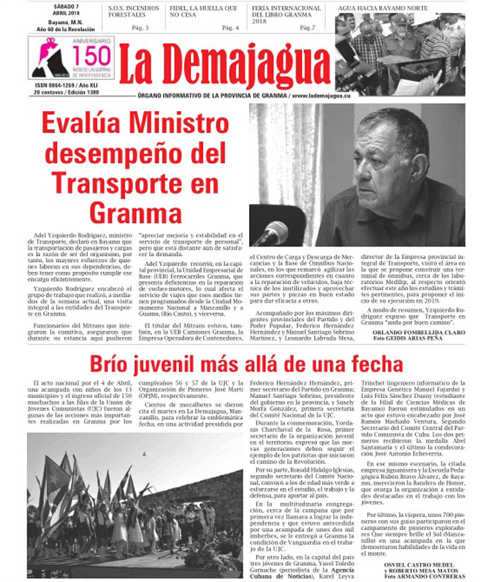 Edición impresa 1380, del semanario La Demajagua, sábado 7 de abril de 2018