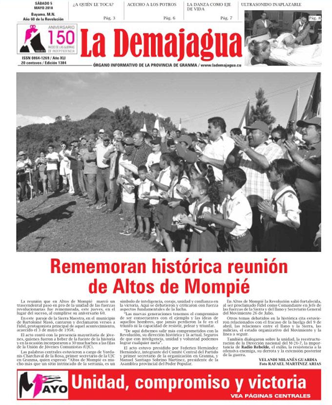 Edición impresa 1384, del semanario La Demajagua, sábado 5 de mayo de 2018