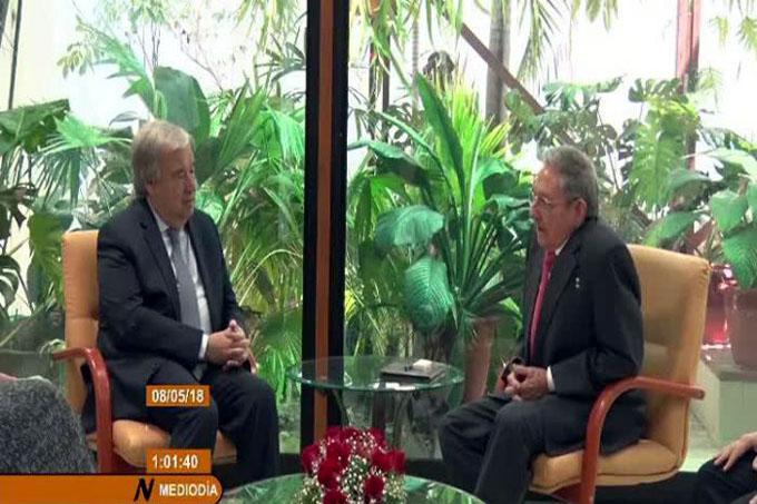 Sostuvo Raúl encuentro con el Secretario General de la ONU