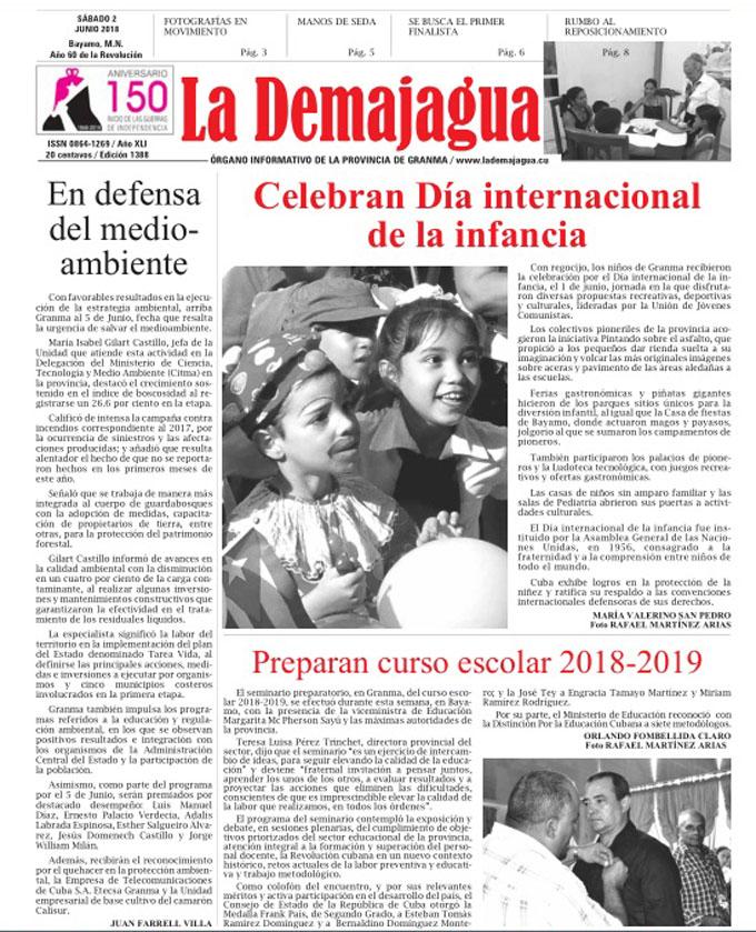 Edición impresa 1388 del semanario La Demajagua, sábado 2 de junio de 2018