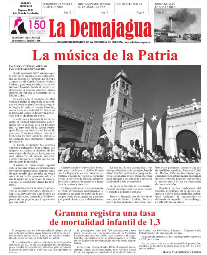 Edición impresa 1389 del semanario La Demajagua, sábado 9 de junio de 2018