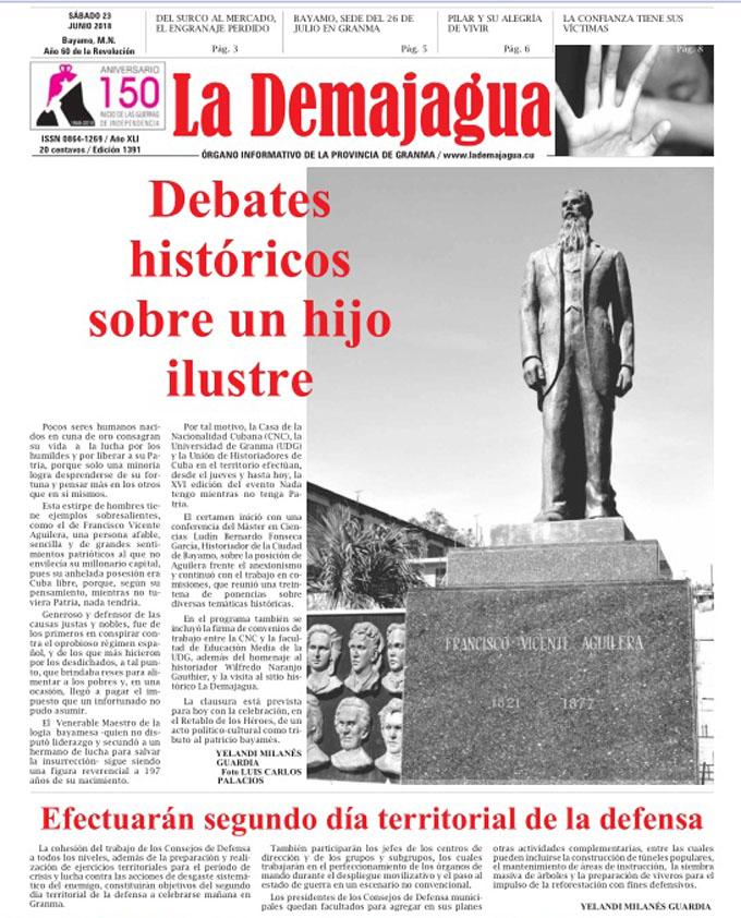 Edición impresa 1391 del semanario La Demajagua, sábado 30 de junio de 2018