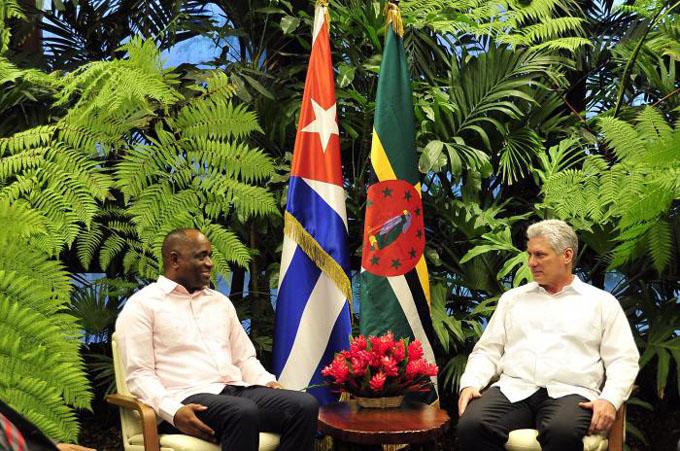 Recibió Díaz-Canel al Primer Ministro de la Mancomunidad de Dominica