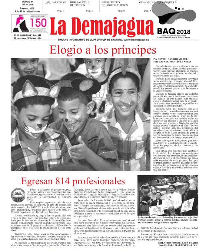 Edición impresa 1394 del semanario La Demajagua, sábado 14 de julio  de 2018