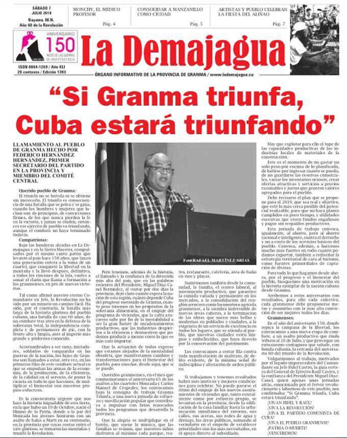 Edición impresa 1393 del semanario La Demajagua, sábado 7 de julio de 2018