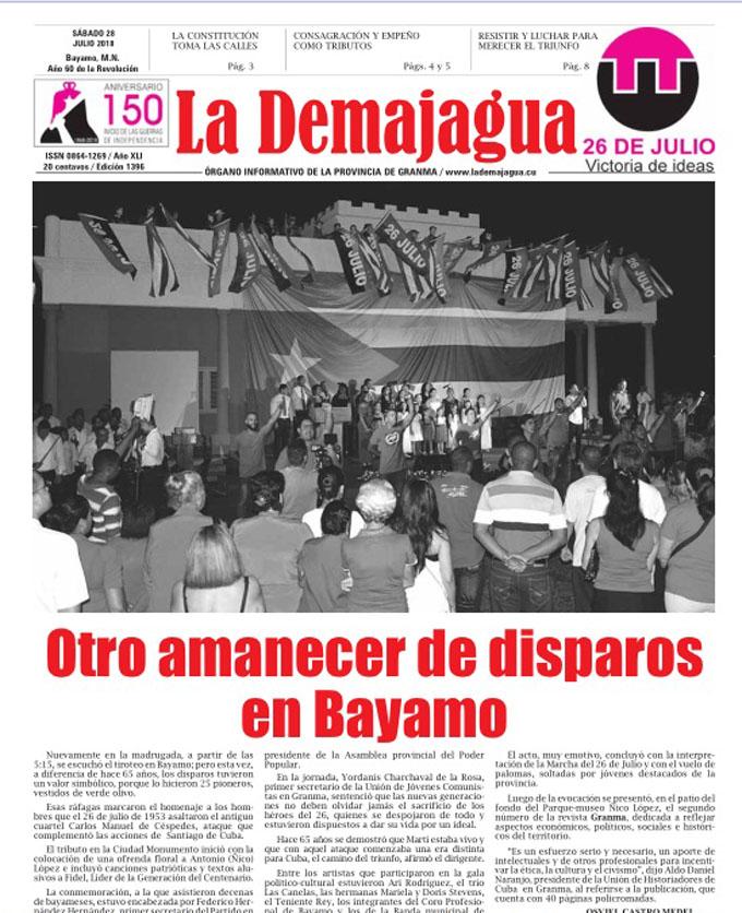 Edición impresa 1396, del semanario La Demajagua, sábado 28 de julio 2018