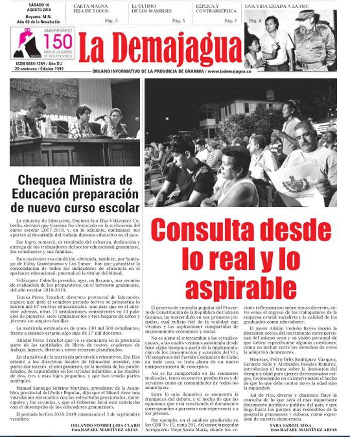 Edición impresa 1399 del semanario La Demajagua, sábado 18 de agosto del 2018