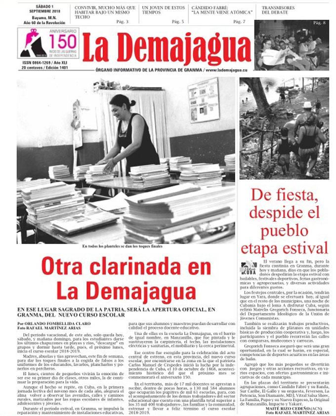 Edición impresa 1401 del semanario La Demajagua, sábado 1 de septiembre 2018
