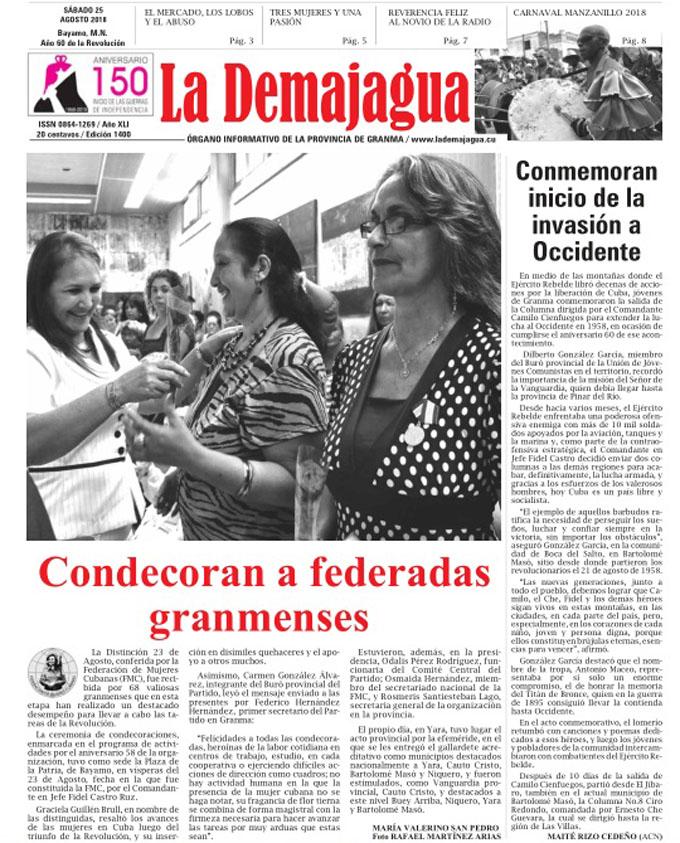 Edición impresa 1400, del semanario La Demajagua, sábado 25 de agosto 2018