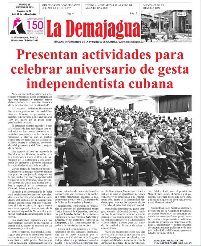 Edición impresa 1403 del semanario La Demajagua, sábado 15 de septiembre del 2018