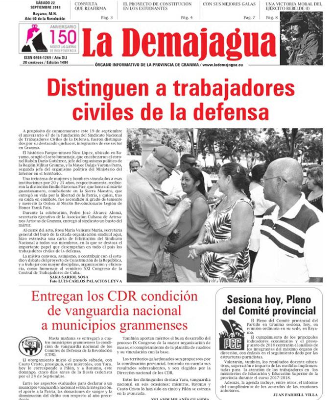 Edición impresa 1404, del semanario La Demajagua, sábado 22 de septiembre 2018