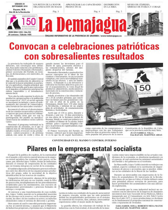 Edición impresa 1405, del semanario La Demajagua, sábado 29 de septiembre 2018