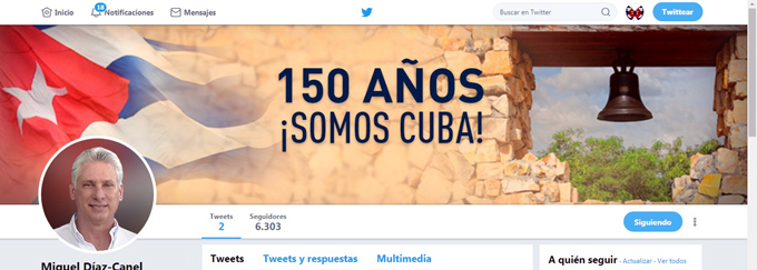 Gran aceptación en Twitter de cuenta de presidente cubano