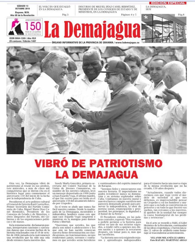 Edición Especial impresa 1407, del semanario La Demajagua, sábado 13 de octubre de 2018