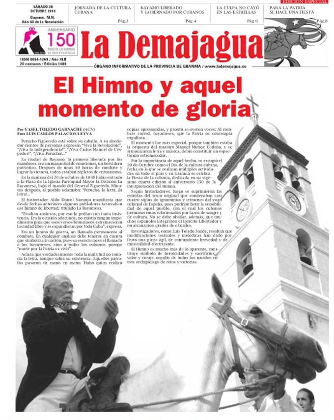 Edición Especial impresa 1408, del semanario La Demajagua, sábado 20 de octubre de 2018
